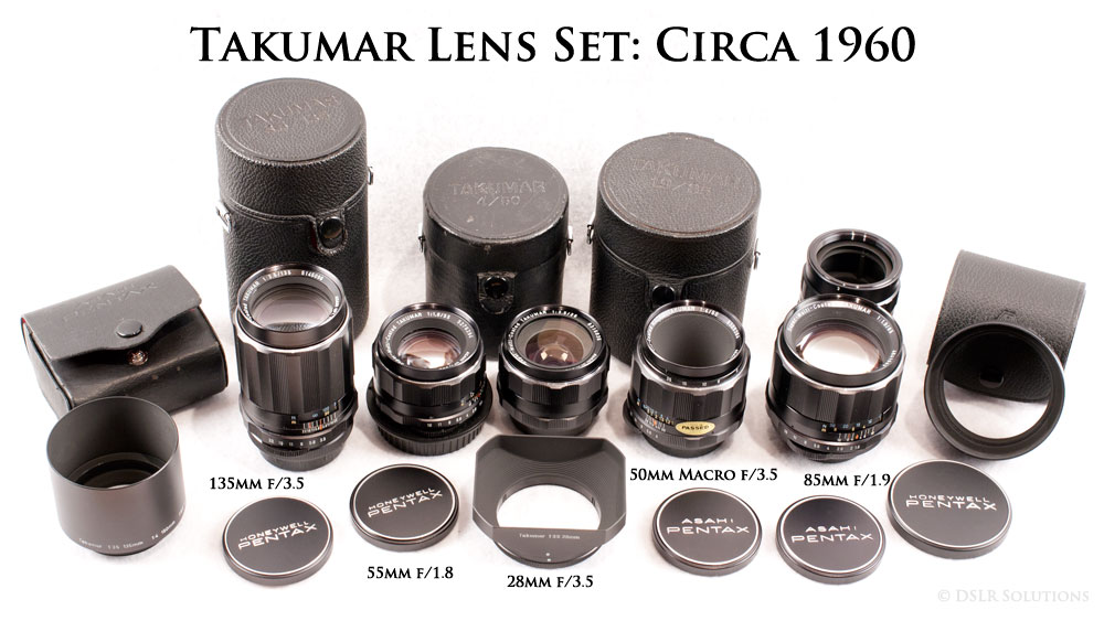 Vintage Takumar Lens Set - 135mm f/3.5, 55mm f/1.8, 28mm f/3.5, 50mm Macro f/3.5 and 85mm f/1.9