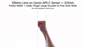 200mm Lens - Frame Width APS-C Using Hands