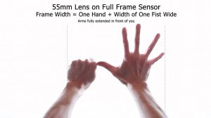 55mm Lens - Frame Width - Full-Frame Using Hands